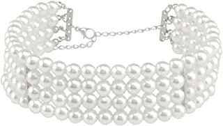 Zealmer Daycindy Multi Strand Necklaces Faux Pearl Choker Necklace for Women