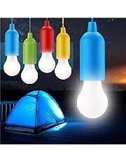 STARPIA 4 Piezas LED Bombilla, Portátil Lámpara del Cordón al Aire Libre/Interior, Camping Lantern Luz Nocturna Colgante para Fiesta, Boda, Jardín, Senderismo, Pesca, Escritorio, Camping