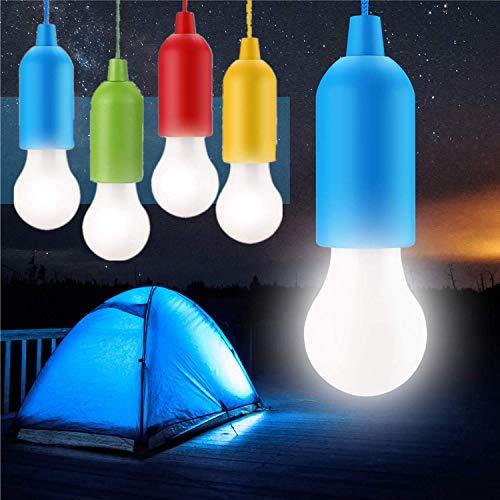 4 STÜCKE Pull Light Lampe Tragbare LED Campinglampe, Mobile Leuchte Pull-Cord Hängende Licht Ideal für Party Garten Camping Wandern BBQ Zelt Dachboden Kleiderschrank Dekoration