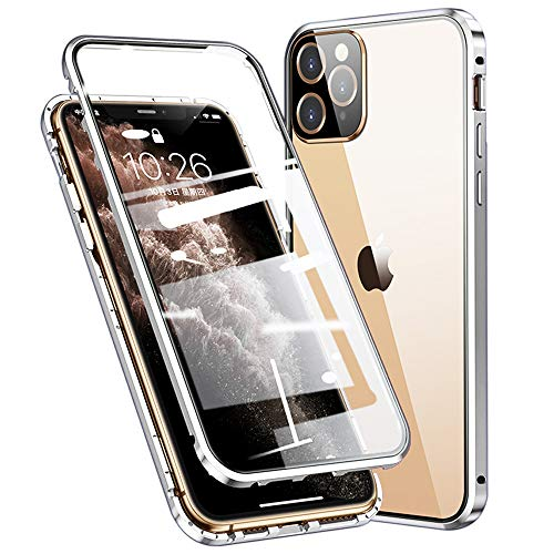 Esteller Case for iPhone 12 Pro/iPhone 12 Magnetic Adsorption Cover 360° Full Body Protection Cover Front and Back Transparent Tempered Glass Metal Bumper - White