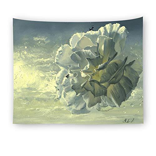Tapices de Pared de Pintura al óleo de Flor Blanca Bohemia con Accesorios Colgantes para decoración de Arte de Pared de Dormitorio casero (150x150cm cm