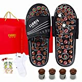 CLORIS Foot Massager Deep Tissue Circulation| Massage Slippers with Jade Stones and Tourmalines| Fasciitis Relief Massage Ball with a Pair of Sock|Gifts for The Family Suitable for All Seasons