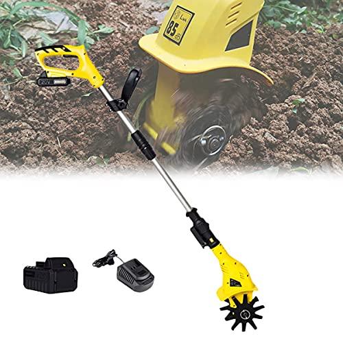 DFBGL Cultivador eléctrico de jardín Ajustable, Mini cultivador Manual Earthwise, Profundidad de labranza 6,3 Pulgadas y Ancho 3,9 Pulgadas, motocultor Earthwise con batería de bajo ruid