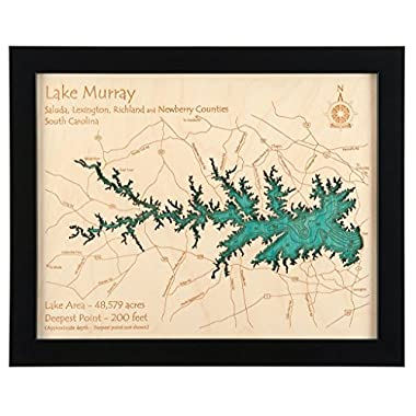 Lake Murray in Saluda Lexington Richland Newberry, SC - 2D Map (Black Frame/No Glass Front) 11 x 14 IN - Laser carved wood nautical chart and topographic depth map.