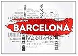 Imán clásico para nevera de Barcelona, ilustración abstracta de viaje