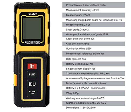 Amyamy elettronico misuratore di distanza a laser con portata di 39,9m (40m) e mini Handheld Digital laser metro a nastro/nastro di misurazione Range Finder