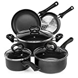 Ecolution EVBK-1208 Pots and Pans, Dishwasher Safe, Scratch Resistant, 8 Piece Set, Black