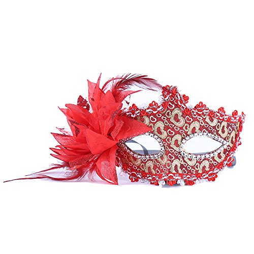 thematys Venezianische Venetianische mit Blume Rot Stoffbezug Maske Maske Maskerade Karneval Fasching Verkleidung Kostüm Halloween Party Maskenball Ball Shades of Grey Mr Grey Mitternacht