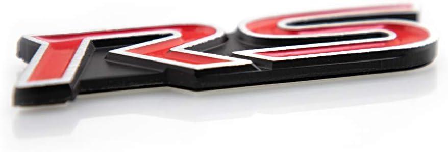Red CAARUN 2Pcs RS Emblems Letter Logo Badge Premium Car Fender Sticker Replacement For Brio