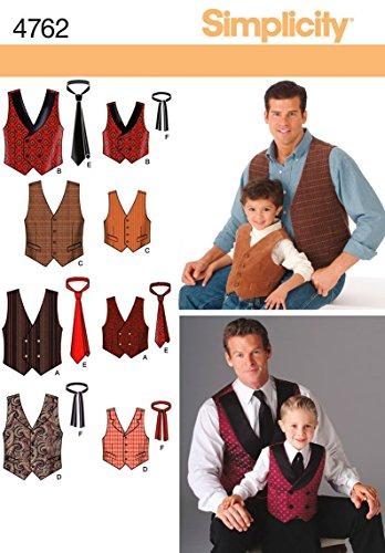 Simplicity Schnittmuster Weste und Krawatte für Herren und Jungen, Größe A (S-XL)