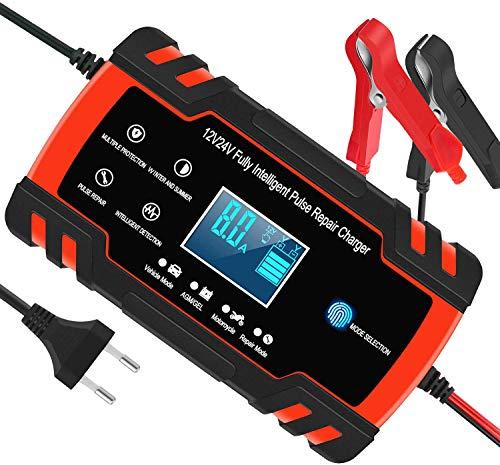 Cargador de batería Inteligente, Car Battery Charger 12V 8A / 24V 4A, Automotive Smart Battery Maintainer para automóvil, Adecuado para carros de Golf, Motocicletas, cortadoras de césped para