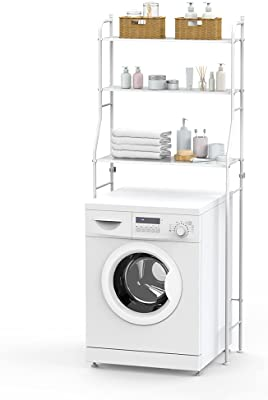 Lamtor ランドリーラック 洗濯ラック 組立式 3段 簡単設置 ランドリー収納 省スペース 耐荷重15kg ホワイト おしゃれ