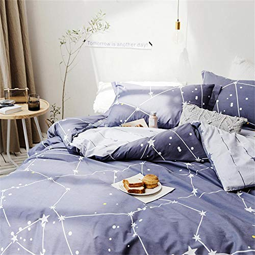 Softta Space Constellation Bedding Set Star Map Universe Galaxy Duvet Cover Queen 3 pcs 100% Cotton Gray Blue Purple for Teen Boys Girls Men Women