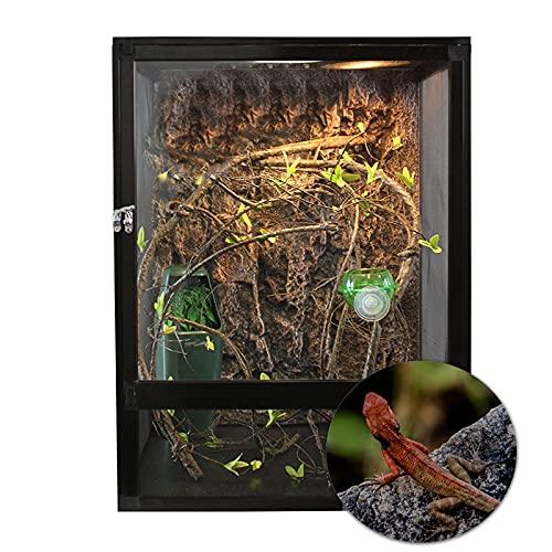 LarMoma爬虫類アクリルドア 居心地の良い爬虫類飼育32x32x46 CM、トカゲ生息地通気性が良いのアルミ合金の飼育容器両生類の生息地トカゲ生体ヘビカエルリクガメヤモリカマキリカメレオンアクリル、黒