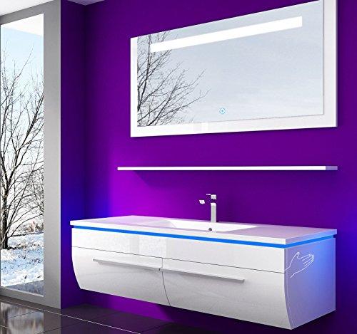 danny Badmöbelset 120 cm Weiß VormontierteBadezimmermöbel Waschbeckenschrank mit Waschtisch Spiegel mit LED Beleuchtung Hochglanz lackiert Homeline1