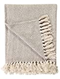 Ehc 220x 250cms in cotone naturale a spina di pesce divano poltrona Bedspread bordatura, king