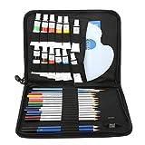 EVTSCAN Juego de arte de 31 piezas, juego de dibujo de artista que incluye lápices de colores, lápices de grafito sin madera, pasteles al óleo solubles en agua y más, juego de pintura