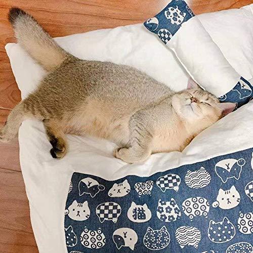 SearchI Katzenschlafsack Katzenbett Flauschig Weich Geschlossen Bett mit Kissen, Waschbare Warm Katzenhöhle Katzenmatte Japanischer Stil Haustierbett Für Katzen Hunde