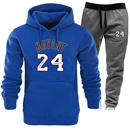 XXEJ Kobe Bean Bryant #24 - Sudadera con capucha para hombre y mujer, diseño de camiseta de baloncesto con bolsillo de canguro, color gris oscuro