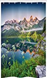 ABAKUHAUS Naturaleza Cortina para baño, Alpes austríacos Montaña, Tela con Estampa Digital Apta Lavadora Incluye Ganchos, 120 x 180 cm, Verde Azul
