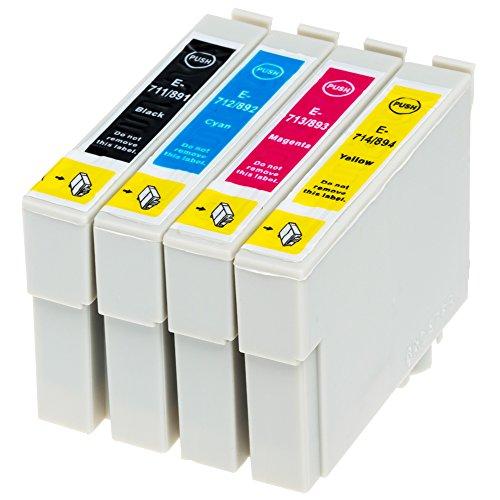 AfiD 4er Set Druckerpatronen zu EPSON T0711 - T0714 für Epson Stylus Office BX 300 F, Epson Stylus Office BX 310 FN, Epson Stylus Office BX 510 W, Epson Stylus Office BX 600 FW, Epson Stylus Office BX 610 FW, Epson Stylus S 20, Epson Stylus S 21, Epson Stylus SX 100, Epson Stylus SX 105, Epson Stylus SX 110 und mehr!