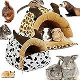 LeerKing Cama Hamaca de Hurón Casa Hamster Durmiendo Hábitat de Animales Pequeños para Conejos Cobayas Rata Chinchilla, Vaca L