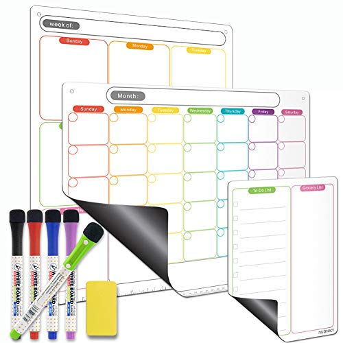 Mag-Fancy Calendar Set - Rainbow Color Horizontal Monthly + Vertical Weekly + Notepad, Includes 5 Dry Erase Markers & 1 Eraser