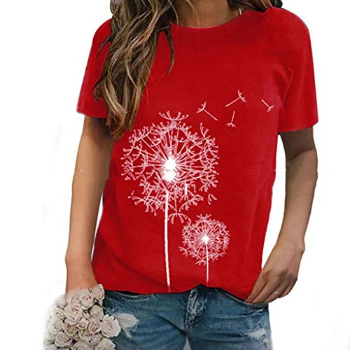 LODDD Summer Women's Fashion O-Neck T-Shirt Casual Dandelion Print Short Sleeves Loose Blouse Tops Red