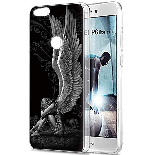Pnakqil Funda Huawei P8 Lite 2017, Silicona Transparente con Dibujos Diseño Slim Suave Gel TPU Antigolpes Ultrafina de Protector Piel Case Cover Cárcasa Fundas para Huawei P8Lite, Chica ala