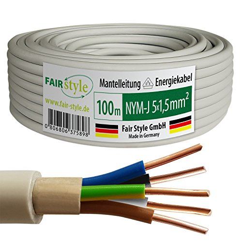 Fair Style 100m NYM-J 5x1,5 mm² Mantelleitung Elektro Strom Kabel Kupfer eindrähtig Made in Germany