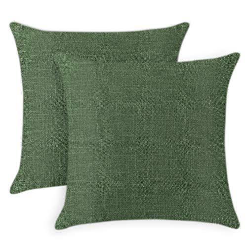 JOTOM Color Sólido Fundas de Cojines Decoración para el Hogar Funda de Almohada para Sofá Silla Oficina Decorativa 45x45 cm (Verde Oscuro, 45x45cm,2 Piezas)