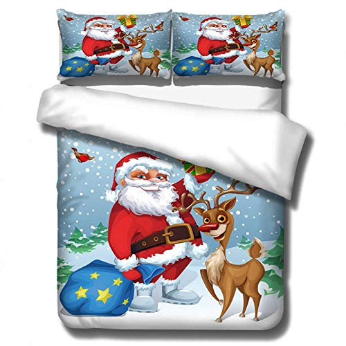 Loussiesd Christmas Duvet Cover Set Double Size Cute Reindeer Bedding Set Snowflakes Comforter Cover with 2 Pillowcases Santa Claus Microfiber Zipper 3 Pcs Christmas Tree Bedspread Cover Funny