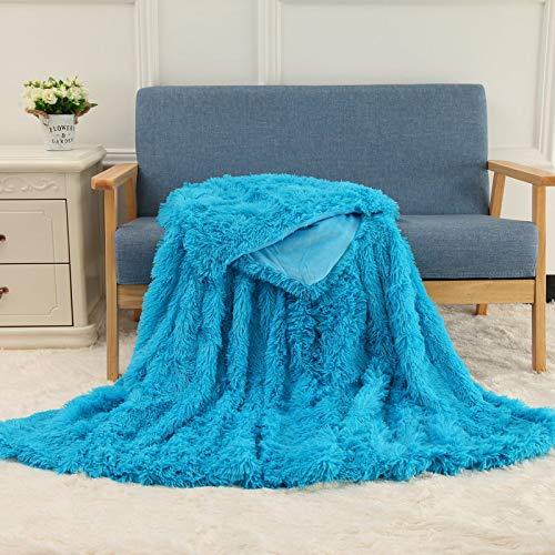 JXILY - Manta de felpa de piel sintética de dos tonos, muy suave, de colores, funda de sofá de piel peluda, cálida manta acogedora para invierno, rosa, 80 x 120 cm