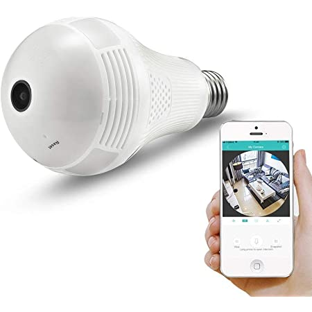 garima electronics Remoting Monitoring Home Security Wireless Panoramic LED Bulb Light 360° IP Security Camera with 960P Fisheye Vision with Two-Way Audio