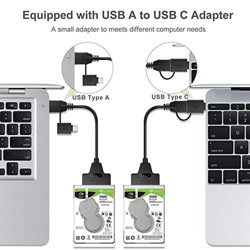 Prettyia USB zu SATA Kabel, SATA 22 Pin(7 15) zu USB 3,0 Adapter Kabel HDD/SSD Kabel Unterstützung UASP Kompatibel für 2,5 SATA Festplatte (mit einem USB Typ c - 50cm