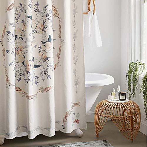Atecou Boho Floral Shower Curtain for Bathroom,Hippie Bohemian Flower Fabric Shower Curtain,Spa Hotel Decor Heavy Duty 72-Inch Bathroom Curtains