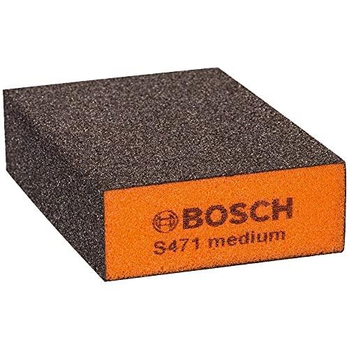 Bosch Professional S471 medium Esponja abrasiva para Superficies y Bordes, Gris Naranja, Medio
