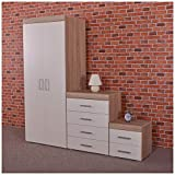 DRP Trading <span class='highlight'>Bedroom</span> Furniture Set *White & Sonoma Oak* Wardrobe, 4 Drawer Chest & 2 Draw Bedside Cabinet