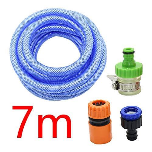 PR Manguera de jardín de tuberías de 14 mm del Tubo de Agua de riego por Goteo de la Manguera Flexible Lavado Flexible de riego 5m 10m 7m (Color : 7m 22.96ft Connecto)