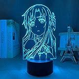 3D Illusion Lamp Anime Sword Art Online Quiloto,3D LED Luz Nocturna para Niños, 7 Colores Cambian con Control Remoto, Regalos para Niños Niñas