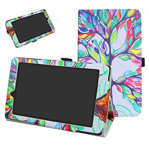 """MAMA MOUTH ARCHOS 70 Oxygen Funda, Slim PU Cuero con Soporte Funda Caso Case para 7"""" ARCHOS 70 Oxygen Android 6.0 Tablet PC,Love Tree"""