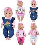ebuddy Abbigliamento per bambole, 4 set inclusi jeans top, fascia per capelli per bambole, 43 cm, bambola da 15 pollici