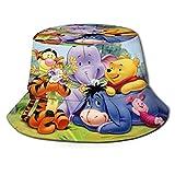 Winnie The Pooh Tigger Eeyore Piglet Bucket Sombrero para el Sol para Hombres Mujeres -Protección Gorra de Pescador de Verano Empacable para Pesca, Safari, Paseos en Bote en la Playa Negro