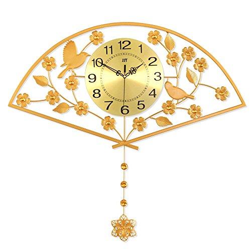 Horloge murale de couleur or de 20 pouces avec pendule horloge suspendue créative horloge murale de grande taille de style européen pour la décoration de salon montres pastorales de fer de ménage muet