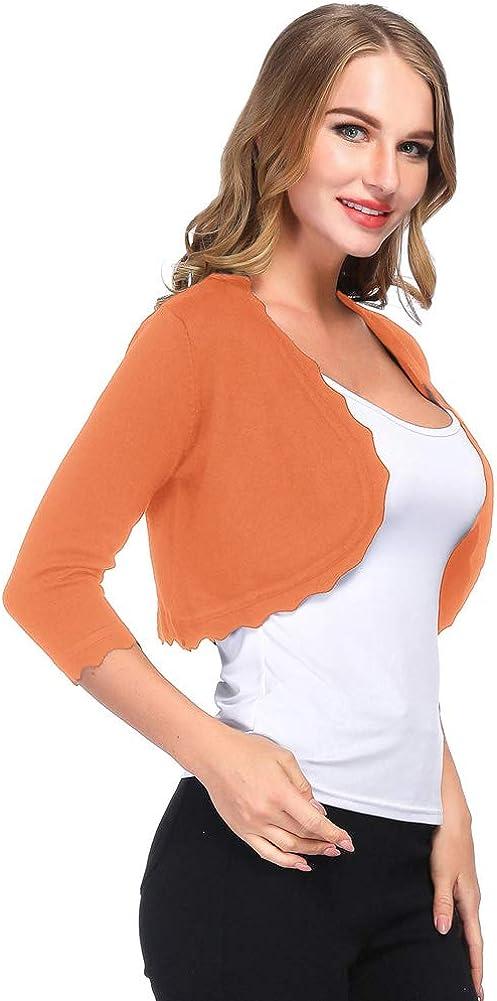 Kancy Kole Vintage Damen geschnitten Länge Bolero Strick Cardigan Schulterjacke Bolerojacke KC0023 Kc23#14