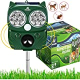 Nevalex Ultrasonic Animal Repeller Solar Powered with Sound Control, Motion Sensor & Flashing Lights. Scare Away Deer Cat Dog Squirrel Birds Mole Rat Vole Skunk Racoon Rabbit Repellent