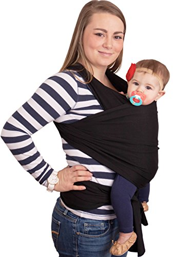 CuddleBug Baby Wrap Sling + Carrier - Newborns & Toddlers up to 36 lbs - Hands Free - Gentle, Stretch Fabric - Ideal for Baby Showers - One Size Fits All (Black)