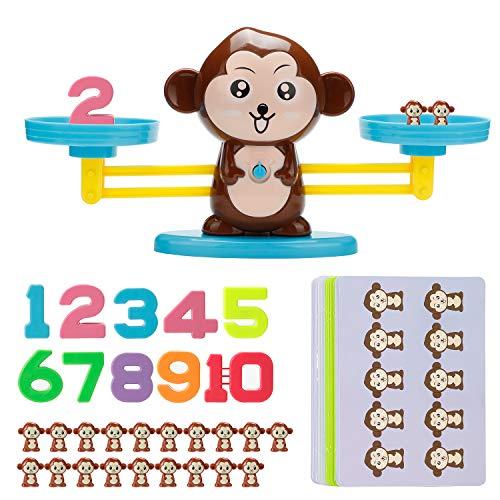 Vintoney Montessori Mathe Waage Spielzeug,Affen Balance Spielzeug Tierwaagen,Zählen und Rechnen,Mathepädagogische Spielwaren Tisch Lernspielzeug Spaß Bildungs Geschenk für Kinder ab 3 Jahhre Alt