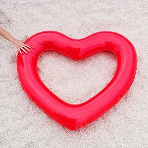 Gcxzb Materassino Mare Nuoto Anello Cuore Nuoto Anello Gonfiabile Cerchio Piscina galleggianti Giocattoli di Partito Materasso ad Acqua Tubo Adulti Donne Bambini Bambini (Color : Red, Size : A)