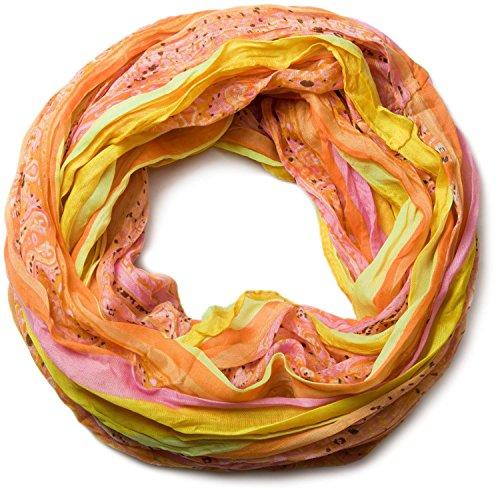 styleBREAKER Damen Loop Schlauchschal mit Streifen und Paisley Muster Mix, Schal, Tuch 01018004, Farbe:Gelb-Orange